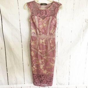 Little Mistress Lace Overlay Midi Dress